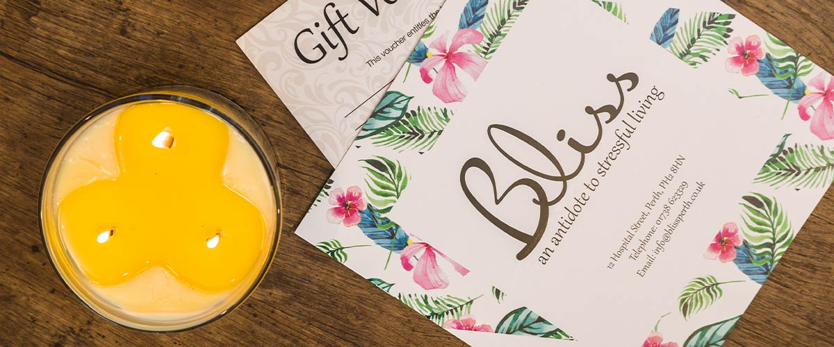 Bliss Salon Brochure and Candle